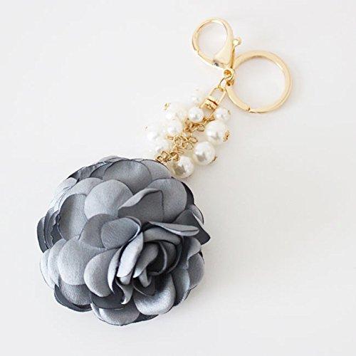 [해외]진주 & 플라워 열쇠 고리 가방 참/Pearl & Flower Key Chain Bag Charm