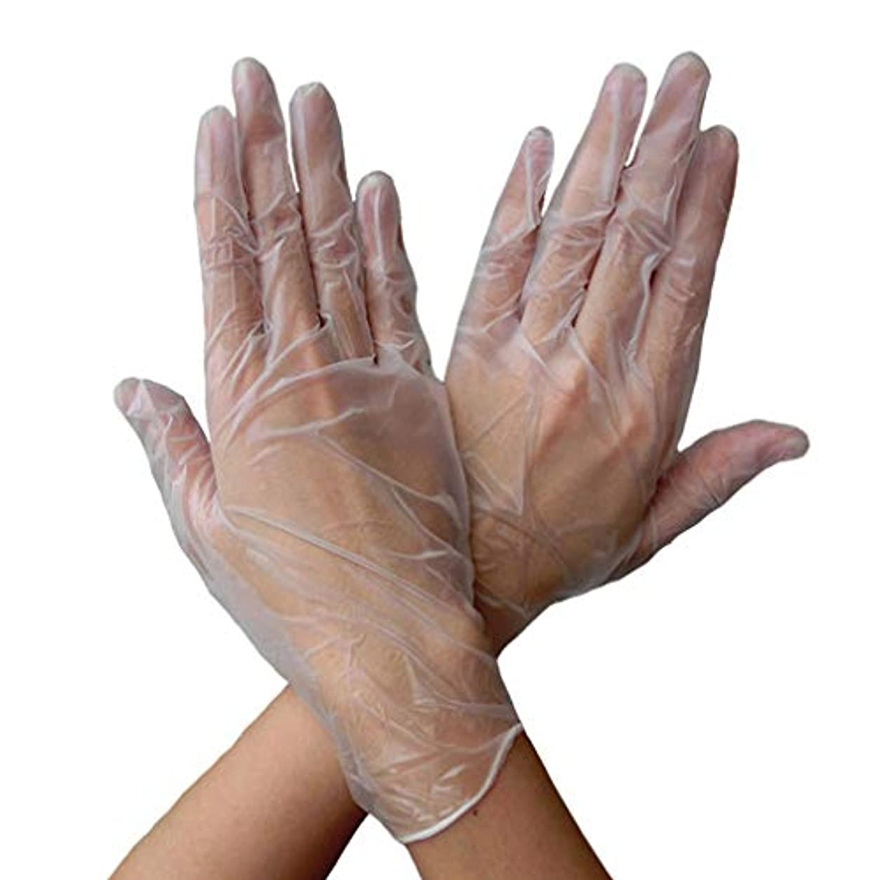 シンプルさエリート熟練したHonel 使い捨て手袋 タトゥー/歯科/病院/研究室に適応 薄い PVC 手袋 高耐久 ホワイト 両手用 使い捨て手袋 50枚 ホワイト L