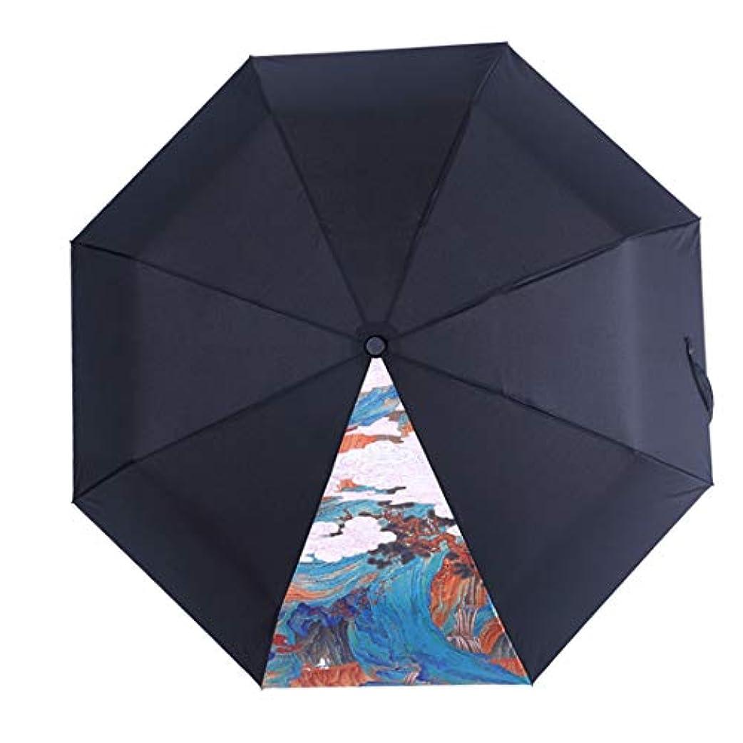 アラートモットー適切にHOHYLLYA クリエイティブスプライス日傘女性の黒折りたたみ日焼け止め傘防風防水ポータブル黒傘 sunshade (色 : 黒)