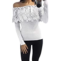 TOOGOO Elegant Ladies Womens Casual Daily Office Long Sleeve Off Shoulder Lace Blouse Strapless T-Shirt Tops gray S/US=4,UK=8