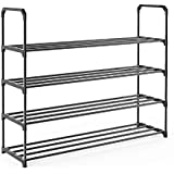 iFeather Shoe Rack, 4-Tier Shoe Organizer, Hold up to 20 Pairs of Shoes, Stackable Shoe Tower for Living Room, Entryway(Black