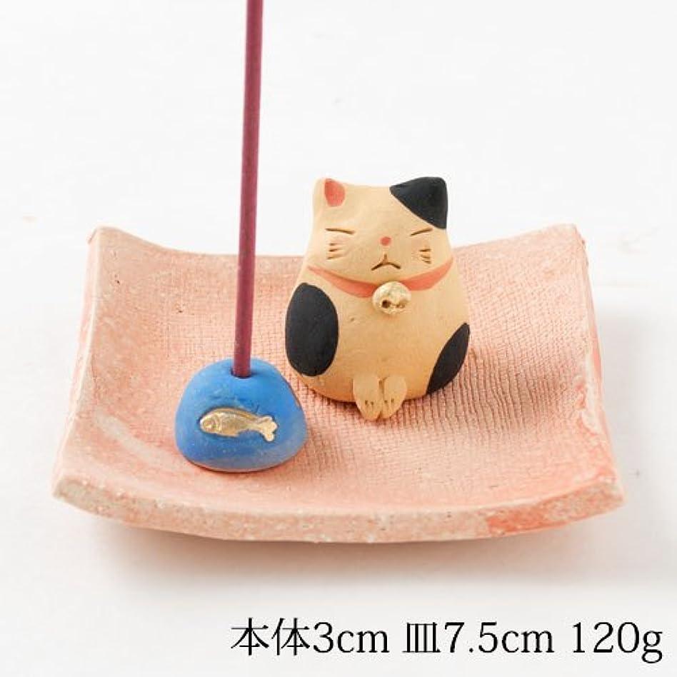 メカニック木材憂慮すべきお辞儀猫香立 (K3440)Incense stand