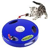 猫おもちゃ 猫用品 電動おもちゃ 猫用電動おもちゃ 5つモード電動 猫 おもちゃ ねずみ声モード付 猫運動不足 ストレス解消対策 電動猫おもちゃ 電動猫じゃらし キャット用品 (ブルー)