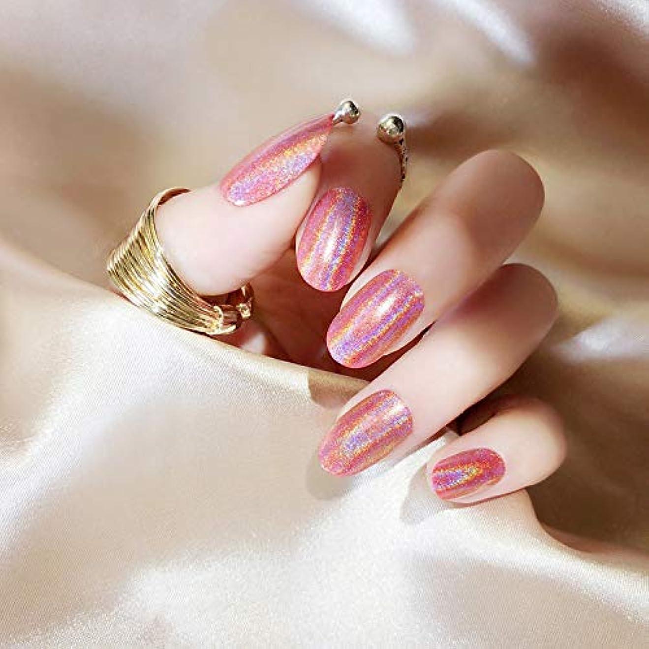 再生可能チャンス属性質感 彩がつく 24枚純色付け爪 ネイル貼るだけネイルチップ レーザー 多重光沢 お花嫁付け爪 ジェルネイルの光疗法 シンフォニー (桜ピンク)