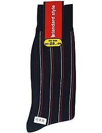 (ワールドリズム)WORLD RHYTHM メンズ ストライプ 柄 大寸 クルー ソックス (日本製 紳士 靴下)27-29cm