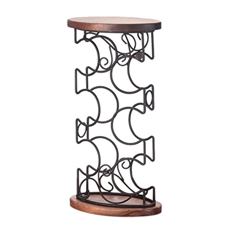 ワインボトルホルダー木製6ボトルカウンターフリースタンドワインラックホームインテリア(サイズ:23.5 * 23.5 * 45センチメートル)