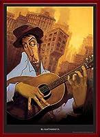 ポスター ジャスティン ブーア El Guitarrista 額装品 ウッドベーシックフレーム(レッド)