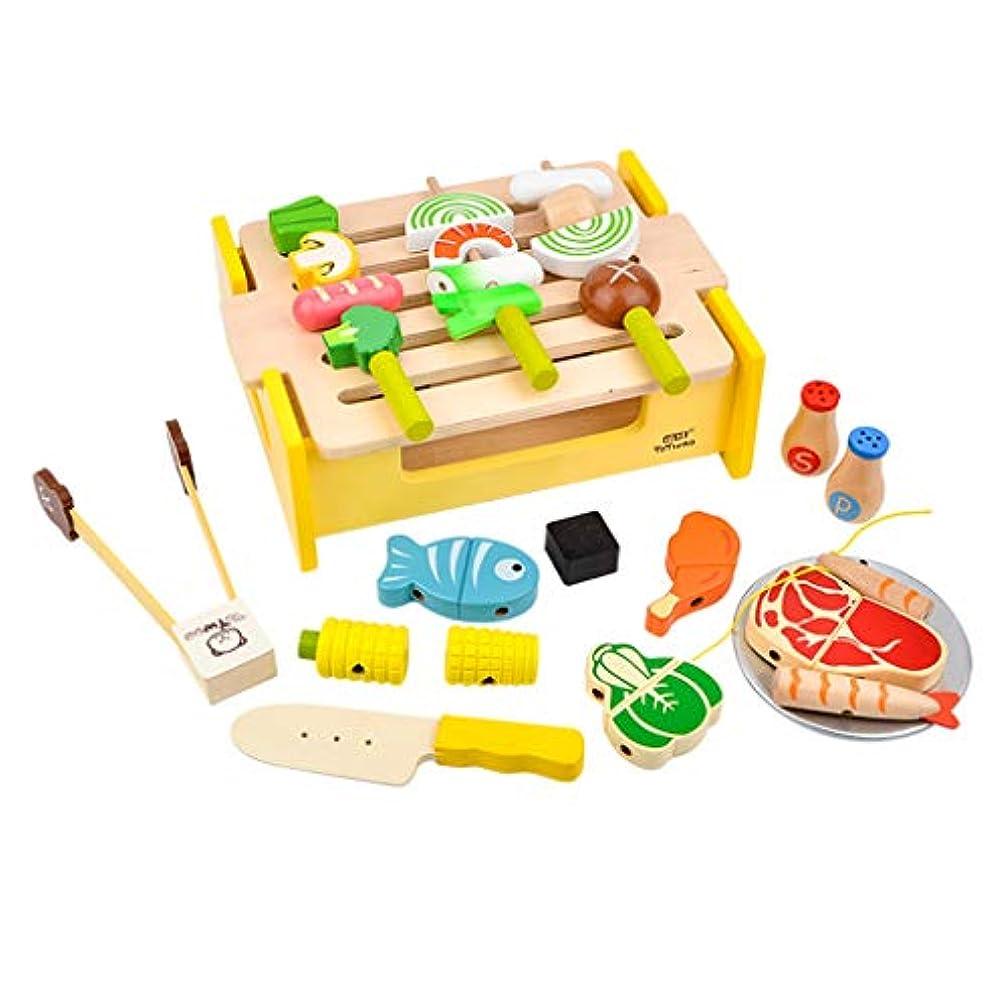 役に立つ寛大なランドマークSM SunniMix 木製 おもちゃ ままごと 食べ物セット バーベキュー ふりプレイ 料理ごっこ遊び フード クッキング