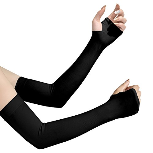アームカバー UVカット99%  UPF50+ 腕カーバ 冷感カーバ 両腕用 吸汗速乾 紫外線対策 冷房対策 ブラック
