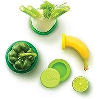 (Fresh Greens) - Food Huggers Reusable Silicone Covers Fruit Vegetable Jars Bottles Tins Cans Savers Storage Holder Keep Fresh Flexible Sleeve Lid