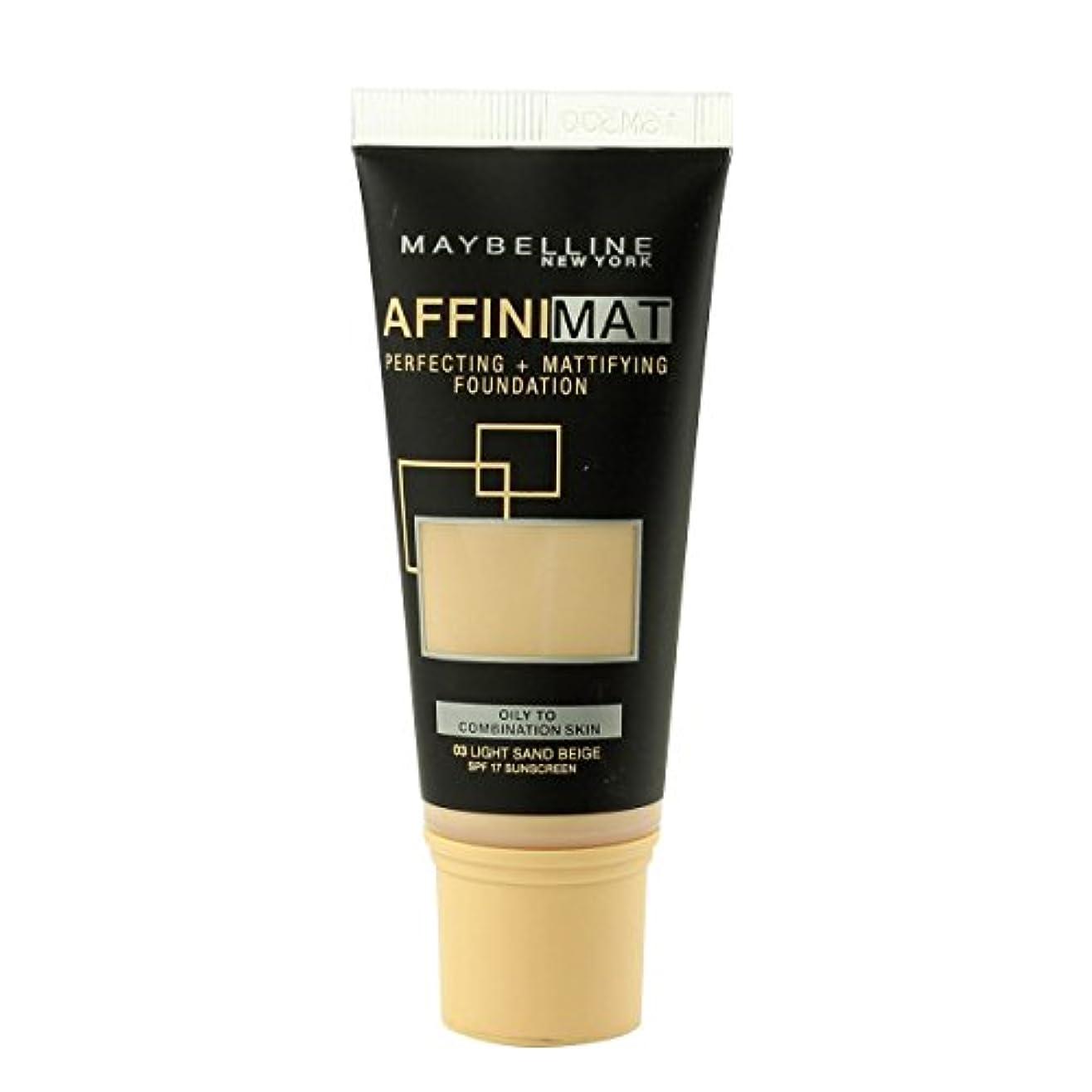 加入柔らかい足地味なMaybelline Affinimat Perf.+Mattif. Foundation SPF17 (03 Light Sand Beige) 30ml