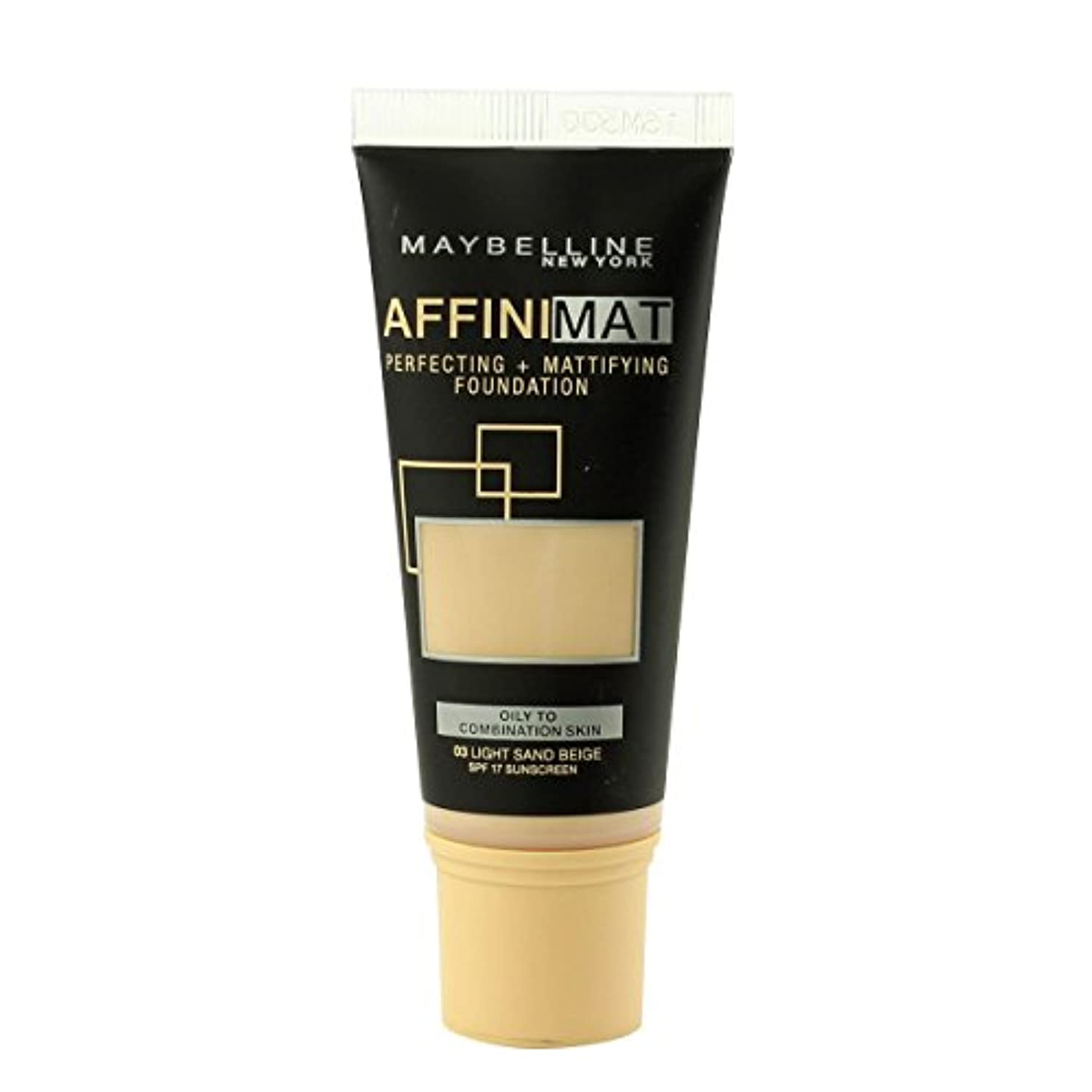 セラー無意識アレルギー性Maybelline Affinimat Perf.+Mattif. Foundation SPF17 (03 Light Sand Beige) 30ml