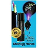 Invisible Ink Pens - 3 INK colours - Disappearing Inks with UV Black Light To Reveal the Secret Message Writing Hot Pink, Electric Blue, Yellow/Green Colours of INK. Party Games and Crafts by Sherlock Hones