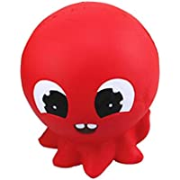 cinhent SquishyピュアレッドOctopus Bread動物Slow RisingチャームGifts Toys赤ちゃん教育プロップスーパーソフト安全
