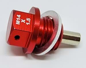 M14x1.5mm アルミ マグネットドレンプラグ (RED)