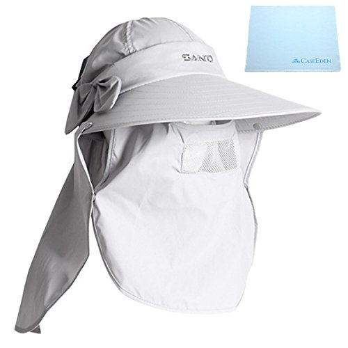 CaseEden つば広帽子 フルフェイスカバー付き 農作業 ガーデニング用 紫外線カット UVカット 超軽量 速乾 & ミニファイバークロス セット ライトグレー 薄い灰色
