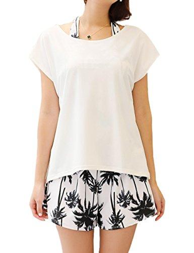 [COTARON] 水着 レディース 体型カバー タンキニ カバーアップ Tシャツ ショートパンツ 白 黒 モノトーン 4点セット (ホワイト × リーフ, L)