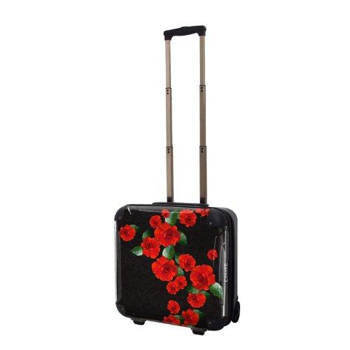 ローズスーツケース/キャラート/アートスーツケース/ベーシッククイーン/ジッパー式/2輪/国内旅行/機内持込可能/レッド バラ 薔薇/CRB01-J00079