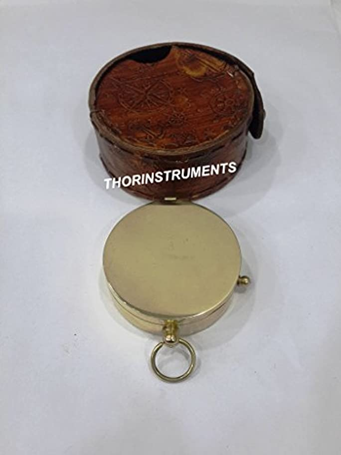 銃毛布贅沢なソリンストレンツ (デバイス付き) 航海海海海 真鍮 ビンテージ ポケット コンパス ブラウン レザー ケース ギフト