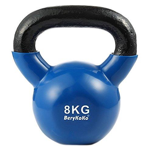 BeryKoKoケトルベル(色:ブルー 8kg) コーティング エクササイズ 正規品/18ヶ月保証 4kg/6kg/8kg/10kg/12kg/16kg/20kg/24kg 体幹トレーニング 筋トレ 筋力トレーニング シェイプアップ ([f] 8kg(ブルー))
