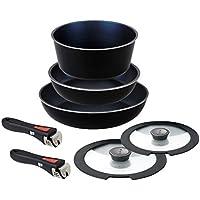 パール金属 フライパン 鍋 7点 セット IH対応 ブラック ダイヤモンドコート 取っ手の取れる セット7 HB-4061