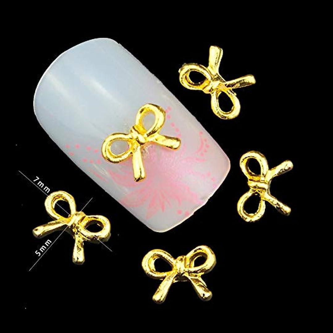 効率的到着ミッション10個入り/パックゴールド蝶ネクタイの3Dネイルアートの装飾DIYグリッター合金ネイルアクセサリーチャームネイル宝石ツール