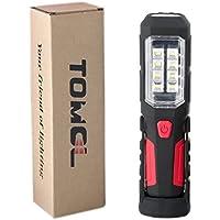 【災害対策】TOMOL LED ワークライト 防災 作業灯 強力280ルーメン 高出力LED×8SMDチップ搭載 先端LED付 (フック&マグネットスタンド付) 広角仕様