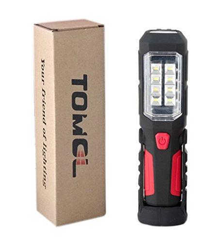 【災害対策】TOMOL LED ワークライト 防災 作業灯 強力280ルーメン 高出力LED×8SMDチップ搭載 先端LED付 (フック&マグネットスタンド付) 広角仕様 …