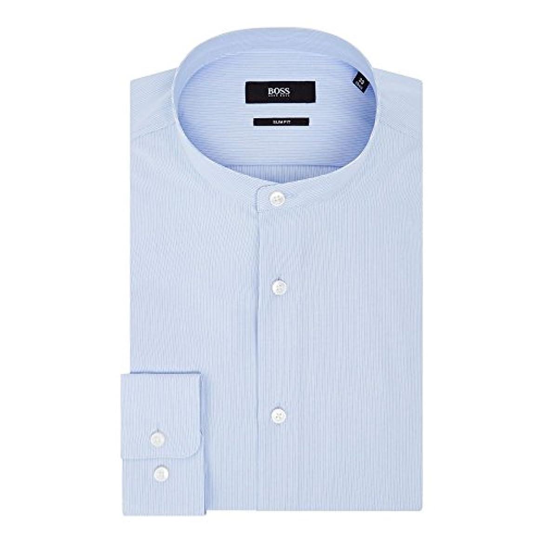 不愉快故障アマゾンジャングル(ヒューゴ ボス) Hugo Boss メンズ トップス シャツ Jordi Slim Fit Grandad Collar Stripe Shirt [並行輸入品]