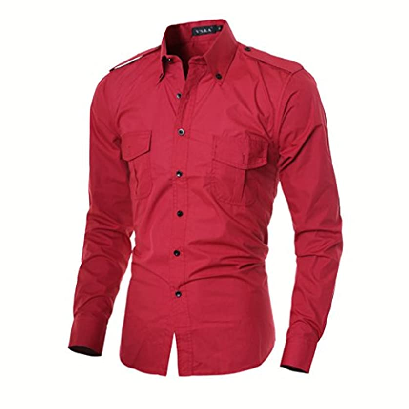 める単なる肥満Honghu メンズ シャツ 長袖  バッジ ダブルポケット スリムレッド L 1PC