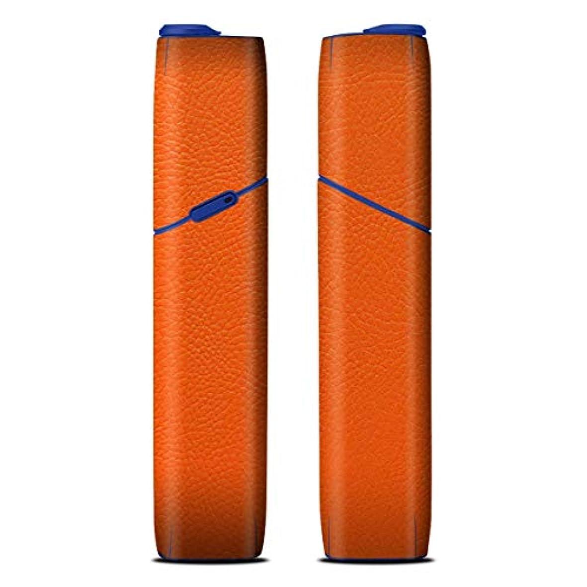次代表するのiQOS3 MULTI アイコス3 マルチ 専用 プレミアムレザーオレンジ 柄 デザインスキンシール デコ フルセット アクセサリ