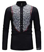 Keaac メンズヘンリーシャツプリントバンドカラーTシャツロングスリーブティートップ Black L