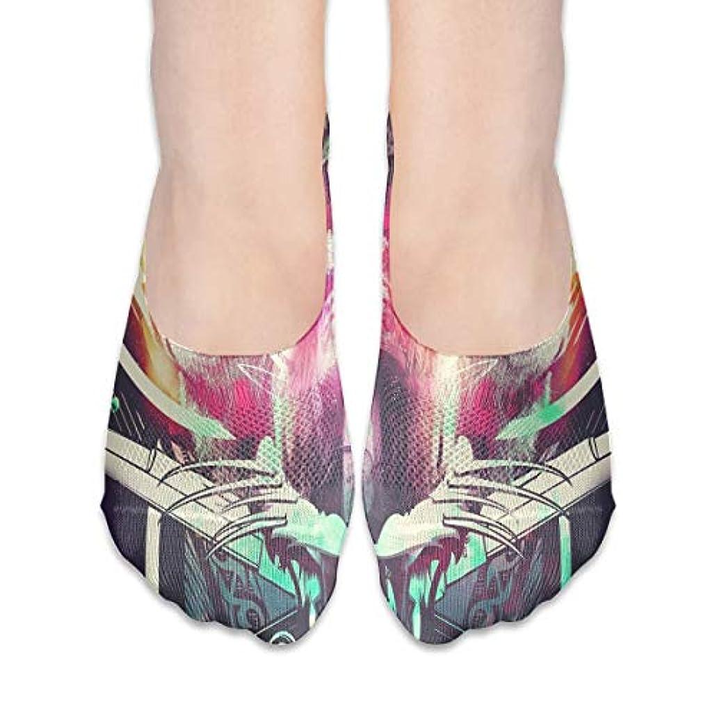くしゃくしゃ襲撃あご女性の豪華な抽象スカルローカットコットンボート隠し目に見えない靴下