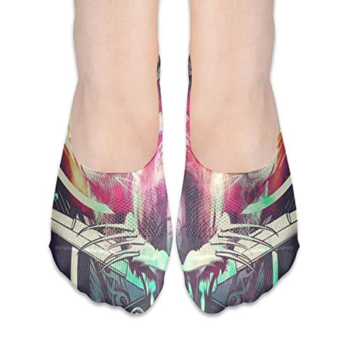 ノート台風他の場所女性の豪華な抽象スカルローカットコットンボート隠し目に見えない靴下