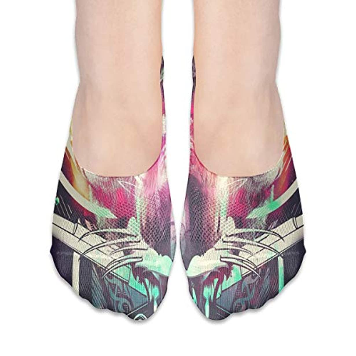 サイレン認識どちらか女性の豪華な抽象スカルローカットコットンボート隠し目に見えない靴下