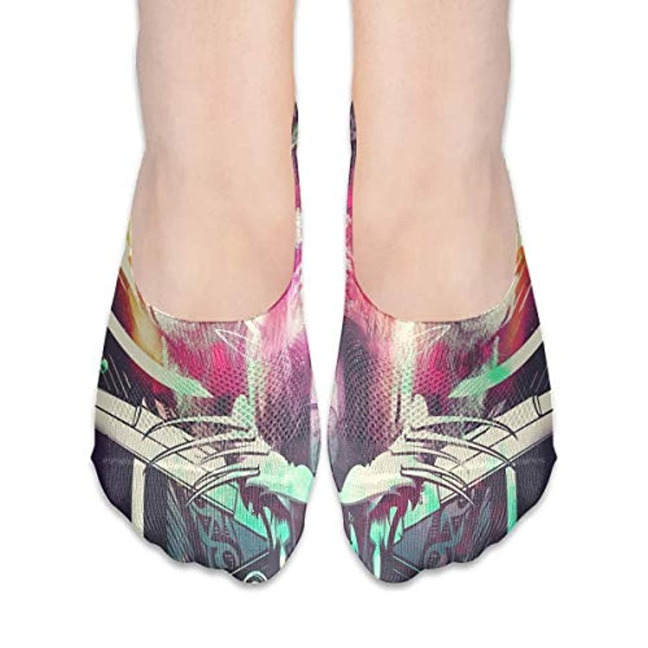 学習者良心まだら女性の豪華な抽象スカルローカットコットンボート隠し目に見えない靴下