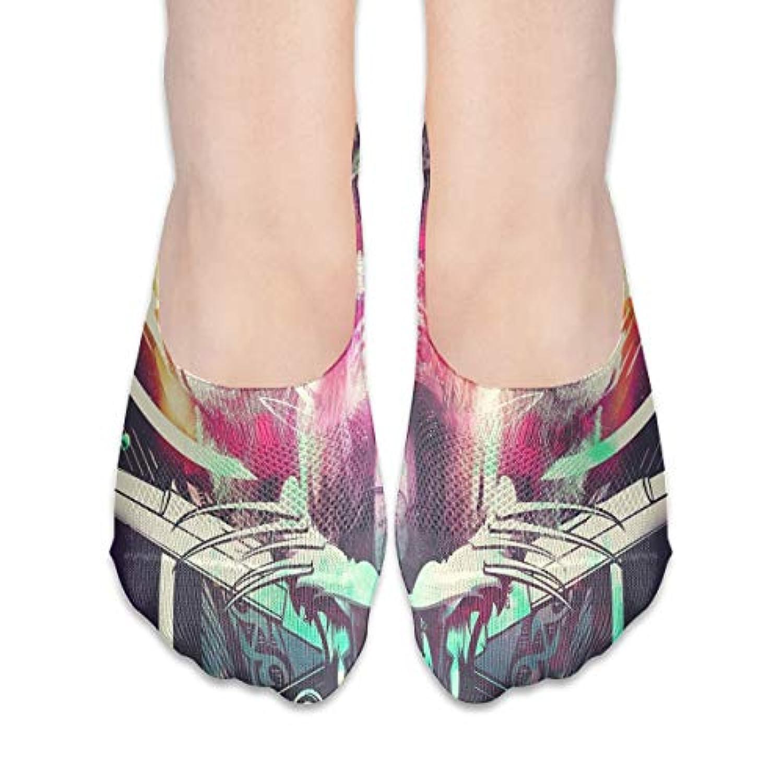 女性の豪華な抽象スカルローカットコットンボート隠し目に見えない靴下