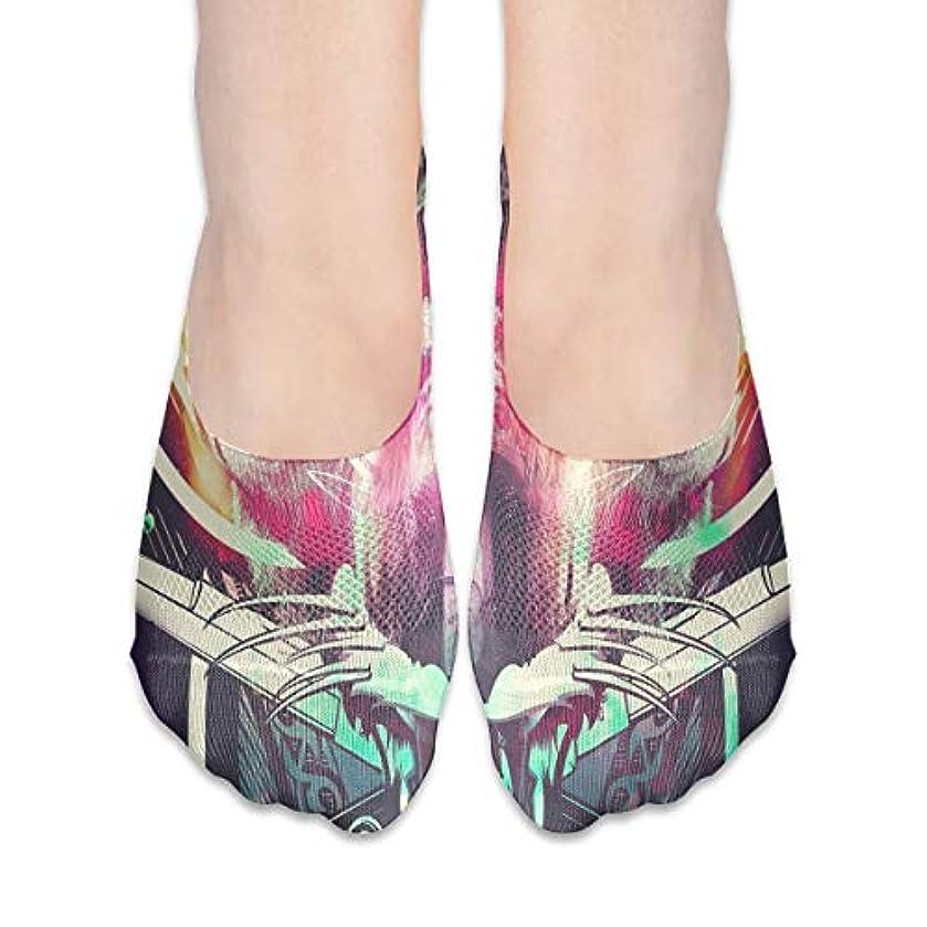 関税ワンダー知覚的女性の豪華な抽象スカルローカットコットンボート隠し目に見えない靴下