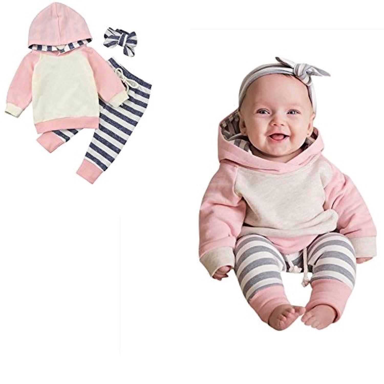 かわいい 3点セット(上着+パンツ+ヘッドバンド) ベビー服 女の子 赤ちゃん服 幼児 子供服 女の子 フード付き 5サイズ キッズ服 ロンパース カバーオール 満月/出産祝い/プレゼント60CM-70CM-80CM-90CM-100CM(0ヶ月-24ヶ月) (80CM/6-12ヶ月, 写真のように)