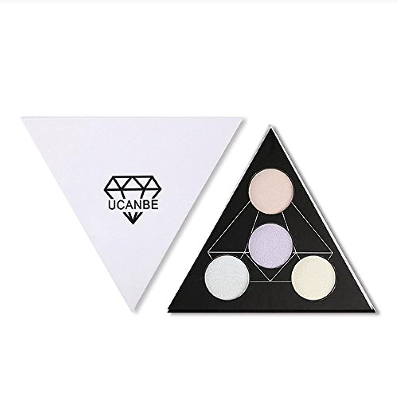 全くブラシ提案するAkane アイシャドウパレット UCANBE 人気 魅力的 ハイライト 綺麗 キラキラ おしゃれ 三角 防水 長持ち チャーム 持ち便利 Eye Shadow (4色)