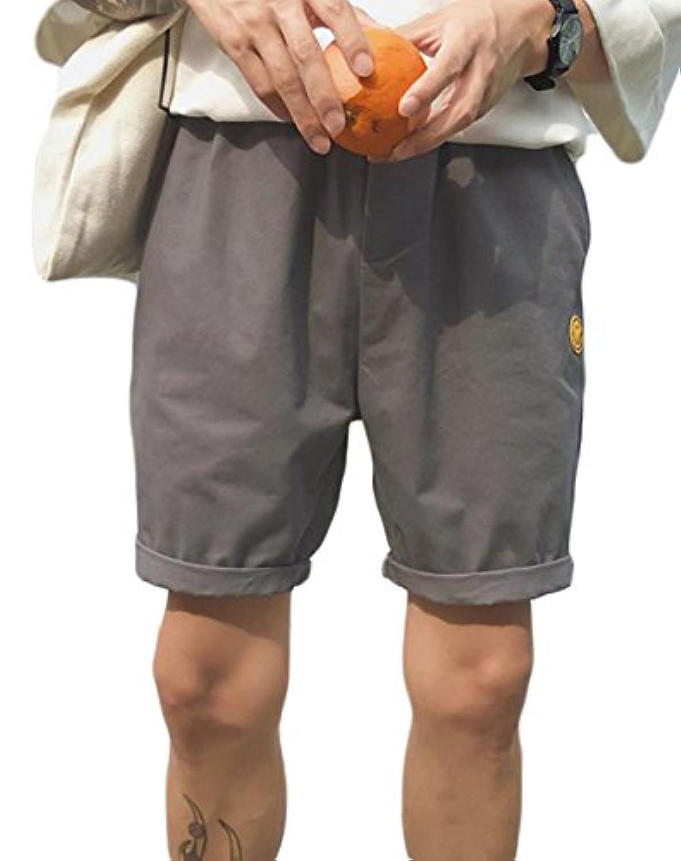 Gergeousメンズ ハーフパンツ ゆったり ウエストゴム カジュアル 短パン 夏物 ショートパンツ 笑顔付き ストリート 韓国風