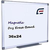 efirniture磁気ドライ消去ボード、36x 24インチ、アルミフレーム、壁マウントホワイトボードwith Removableマーカートレイ、Perfect forホームオフィス学校