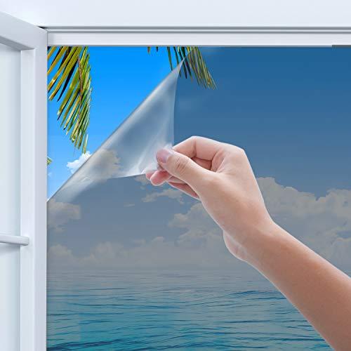 窓用フィルム Rhodesy 窓断熱シート 窓 めかくしシート ガラスフィルム ガラス破片飛散防止 ガラス用 窓用 マジックミラー 防寒 UVカットシート 高遮光 遮熱 水で貼り付け(シルバー, 60cm×200cm)