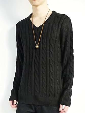 (モノマート) MONO-MART MONO-MART 8color ケーブル編み バルキー ニット セーター 暖 Vネック デザイナーズ メンズ 秋 冬 ブラック Mサイズ