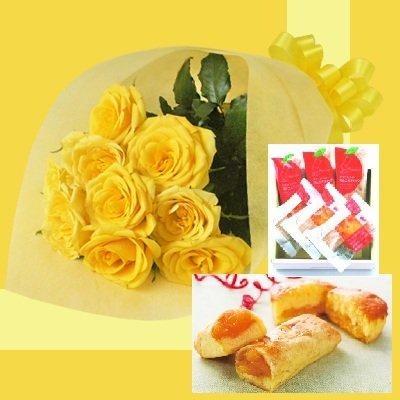 誕生日プレゼント イエローローズ花束&モンドセレクション金賞アップルパイギフトセットB お父さんへのメッセージカード付き (SE)