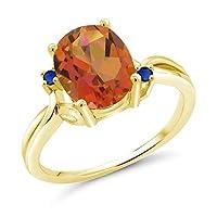 Gem Stone King 2.74カラット 天然 ミスティッククォーツ (トワイライトオレンジ) シミュレイテッド サファイア 14金 イエローゴールド(K14) 指輪 リング