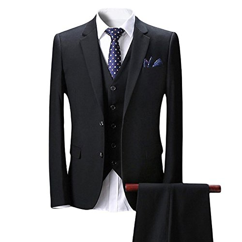 Wolfmen スタイリッシュスーツ 2つボタン 多色 スリムモデル パンツ 防シワ ジレベスト  スリーピース メンズスーツ ビジネス ビジネススーツ カジュアル ファッション チェック 柄 パーティ/結婚式 新着【S-3XL】 (XS, ブラック)