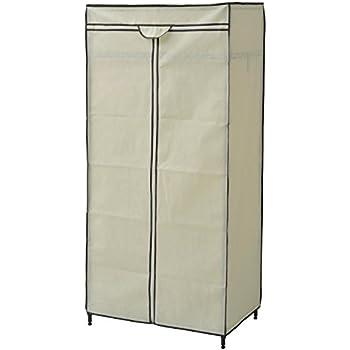 山善 ハンガーラック 幅74×奥行45×高さ162cm カバー付き 棚板可動 ワードローブ 組立品 ホワイト RW-16743JH(WH)