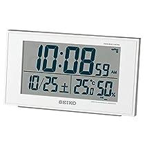 セイコークロック 置き時計 白パール 本体サイズ:8.5×14.8×5.3cm 電波 デジタル カレンダー 快適度 温度 湿度 表示 BC402W