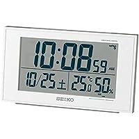 セイコークロック 置き時計 01:白パール 本体サイズ:8.5×14.8×5.3cm 電波 デジタル カレンダー 快適度 温度 湿度 表示 BC402W